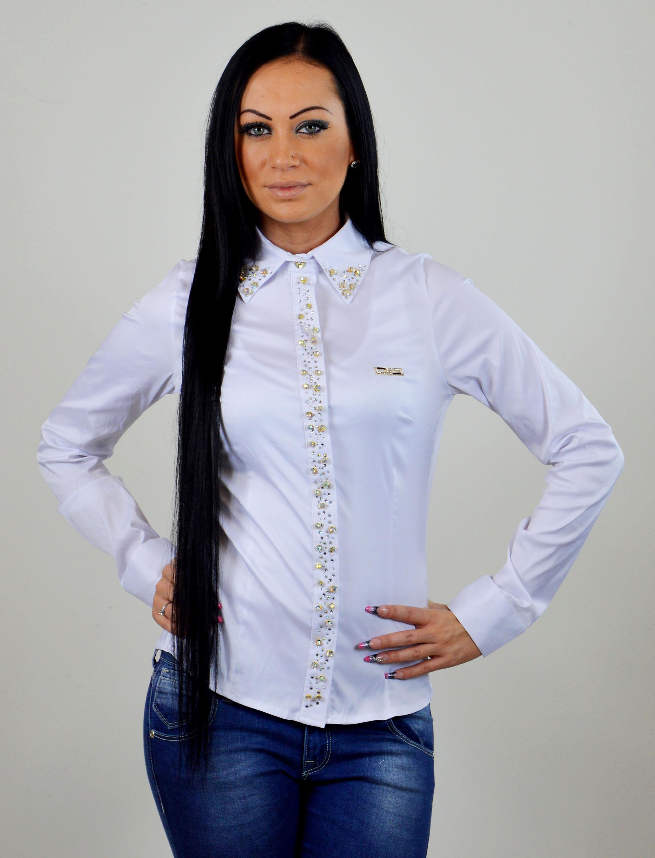 4067de4e88cb ... kosela damska bluzka ornament biela damska bluzka s kamienkami