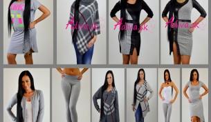 šedé dámske oblečenie