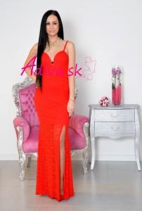 dlhé červené čipkované šaty
